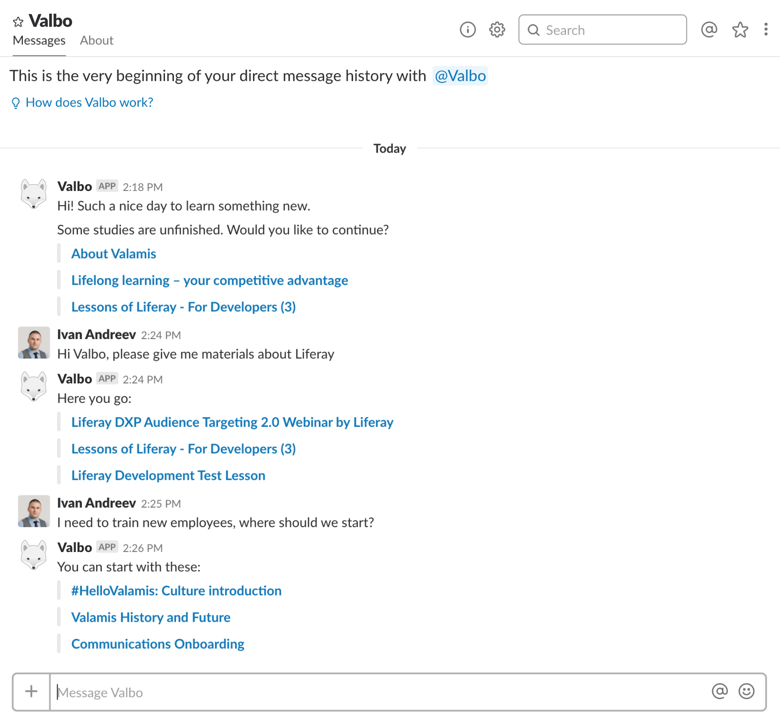 Valbo integration with Slack