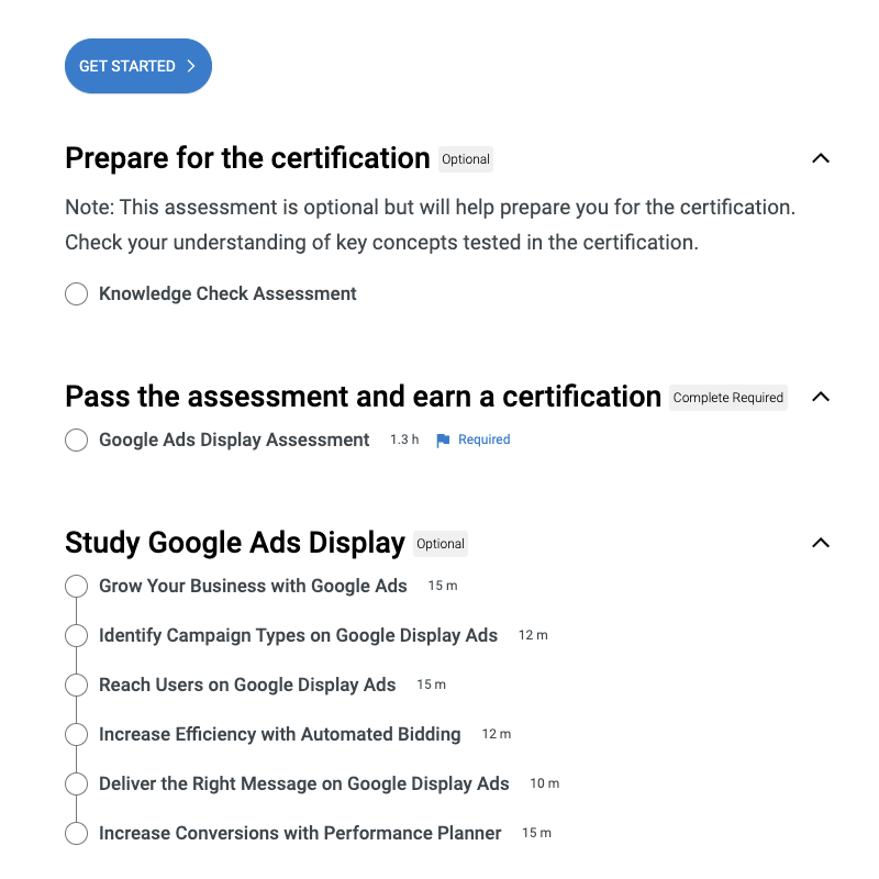 Google Ads Fundamentals course with the learning path and lessons.
