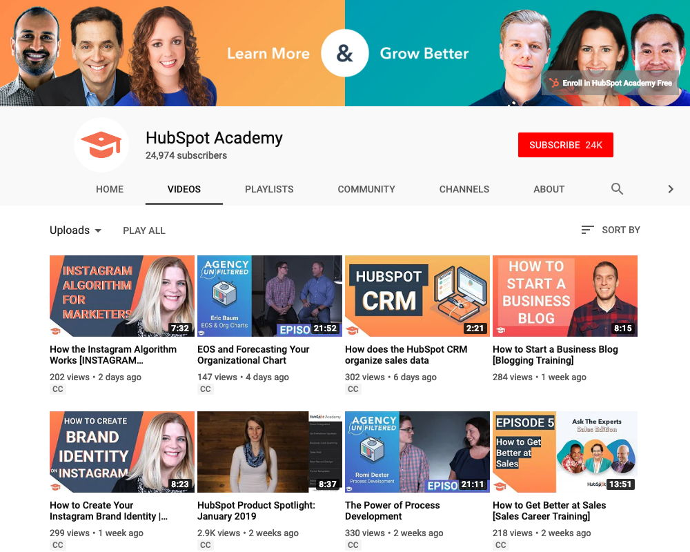 Hubspot Academy YouTube channel with videos for customer training and nurturing.
