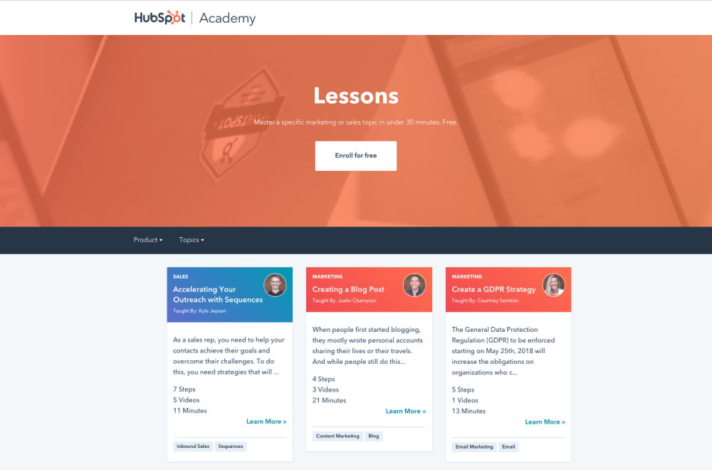 Hubspot Academy learning environment with a list of lessons for customer training.