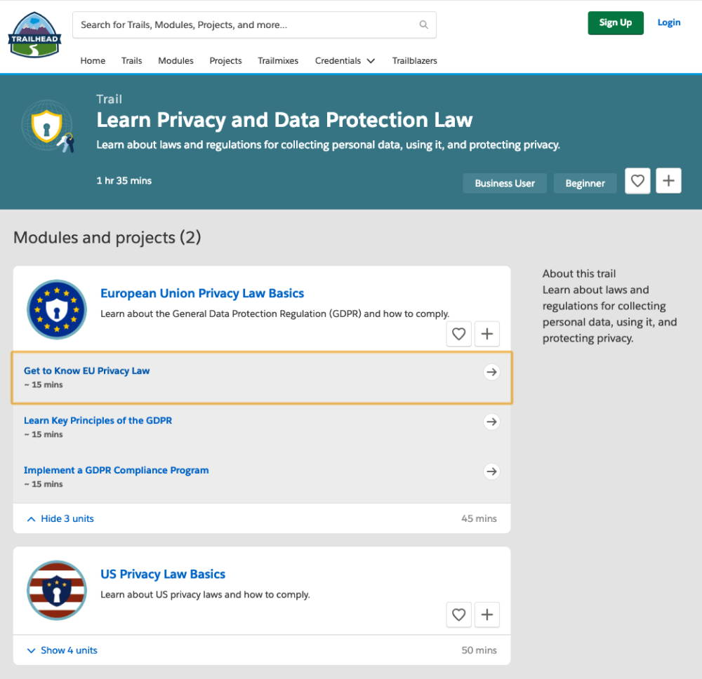 Trailhead data protection lesson's learning path