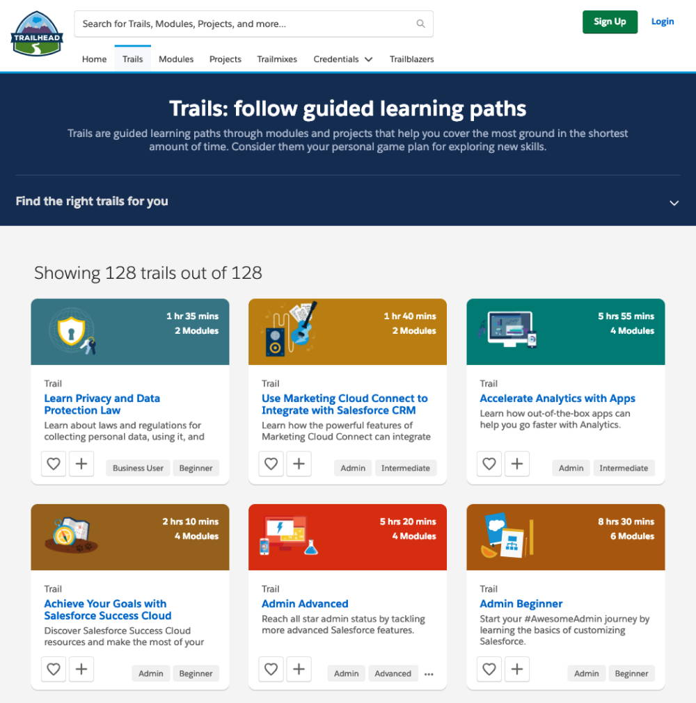 Trailhead - Salesforce trails page with list of available lessons