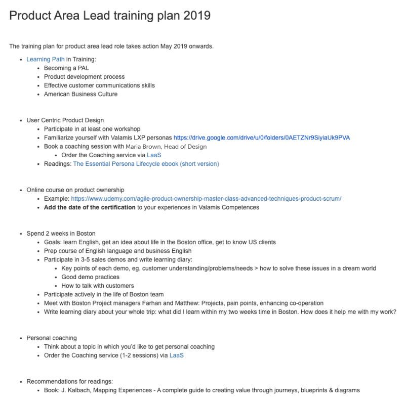 Product area lead training plan example. The list of activities planned for that role during the year, contains training sessions, coaching, events, webinars, and online courses.