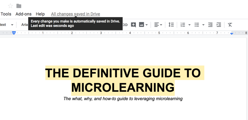 Tooltip from Google Drive explaining that every revision on the document is saved